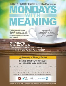 Mondays with Meaning September and October - Six Constant Mitzvos
