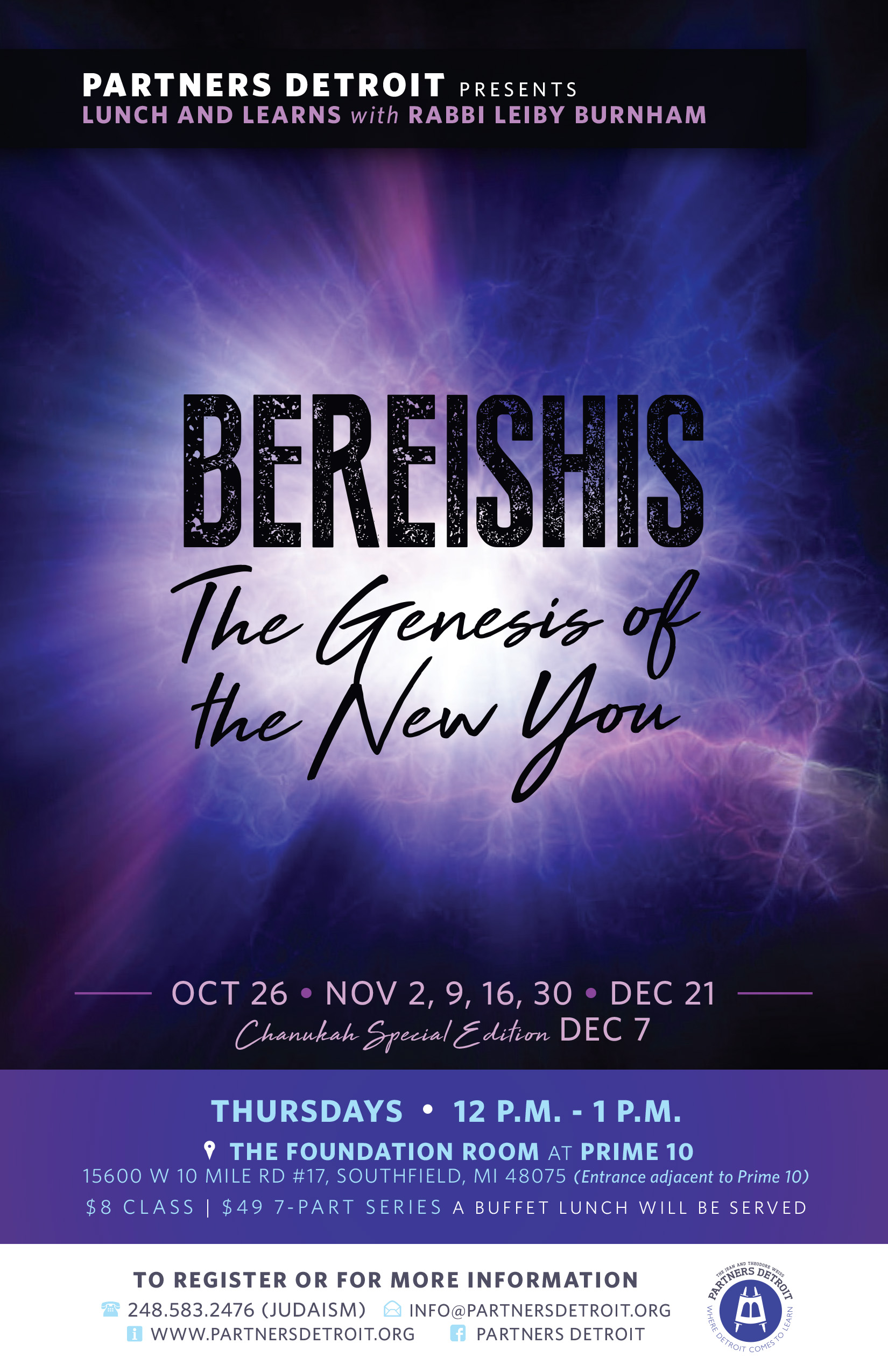 Bereishis: The Genesis of the New You Lunch 'n Learn