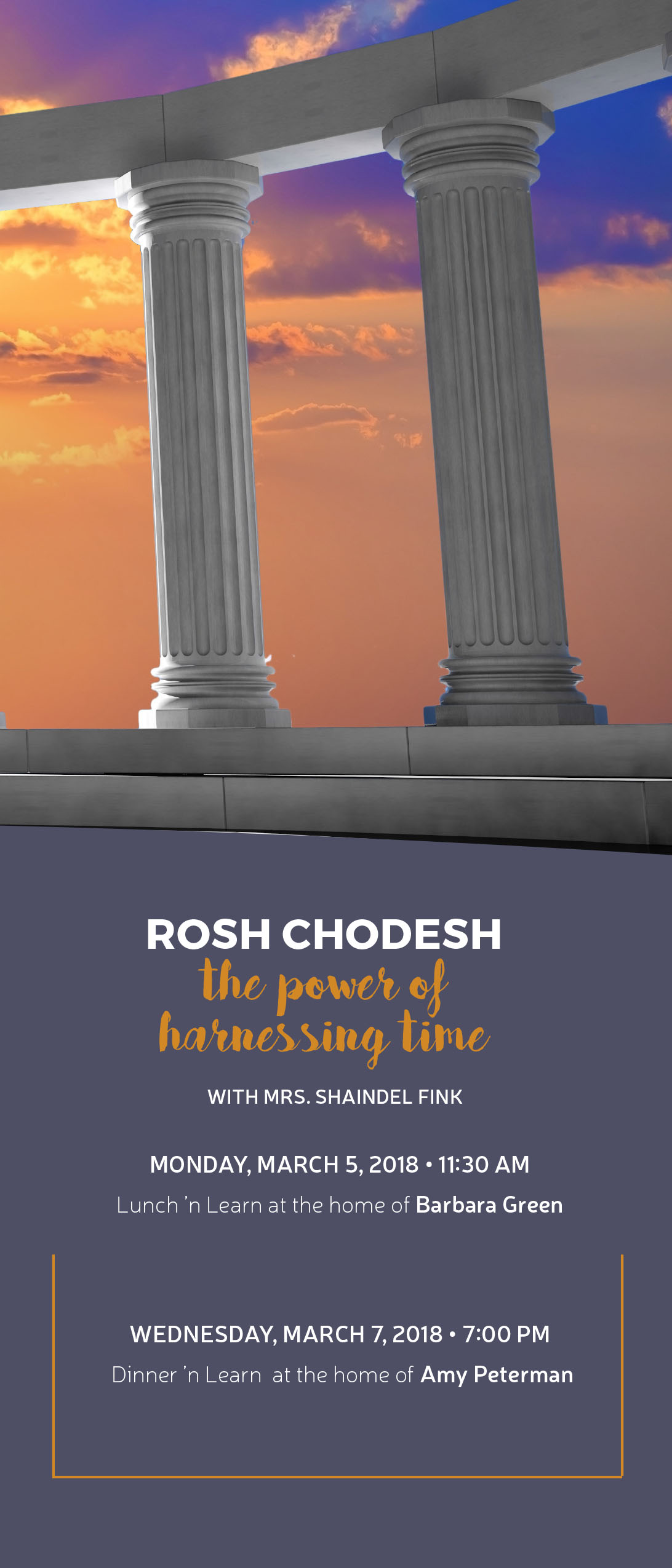 Pillars: Rosh Chodesh - The Power of Harnessing Time Lunch 'n Learn