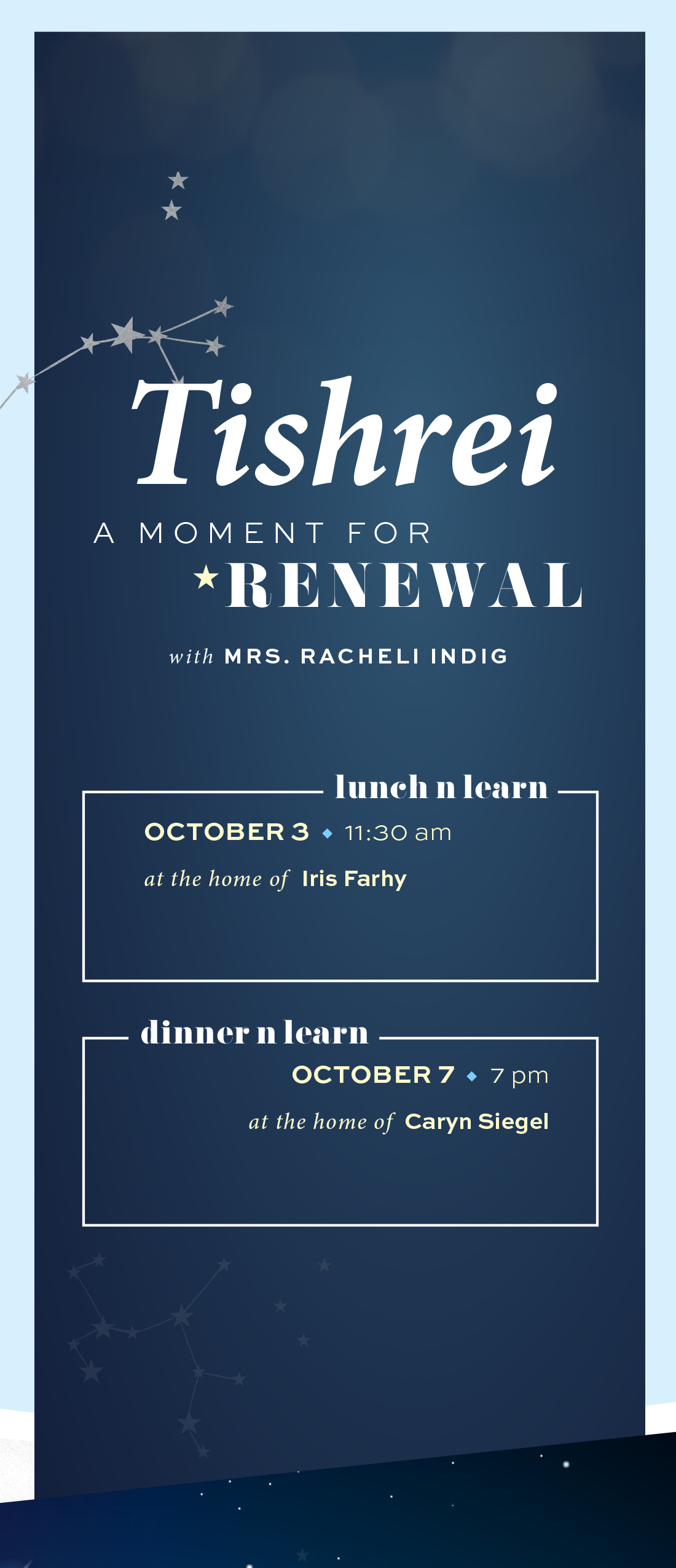 Moments: Tishrei - A Moment for Renewal Lunch 'n Learn